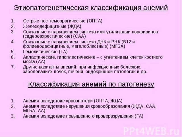 Этиопатогенетическая классификация анемий Этиопатогенетическая классификация анемий Острые постгеморрагические (ОПГА) Железодефицитные (ЖДА) Связанные с нарушением синтеза или утилизации порфиринов (сидероахрестические) (САА) Связанные с нарушением …