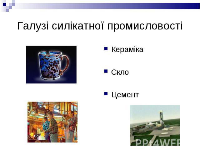Кераміка Кераміка Скло Цемент