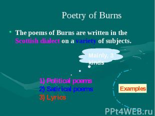 Poetry of Burns The poems of Burns are written in the Scottish dialect on a vari