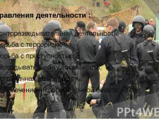 Направления деятельности : контрразведывательная деятельность; борьба с террориз