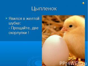 ЦыпленокЯвился в желтой шубке:- Прощайте, две скорлупки !