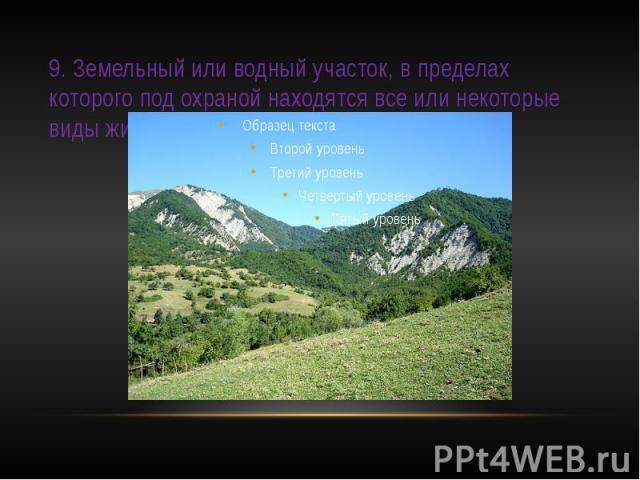 9. Земельный или водный участок, в пределах которого под охраной находятся все или некоторые виды животных, растений.