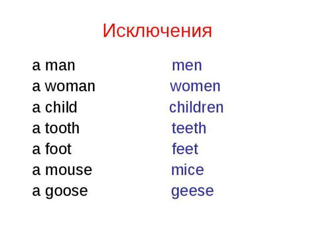 a man men a man men a woman women a child children a tooth teeth a foot feet a mouse mice a goose geese