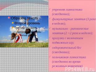 утренняя гимнастика (ежедневно); утренняя гимнастика (ежедневно); физкультурные