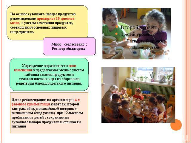 Даны рекомендации по организации 4-х разового приёма пищи (завтрак, второй завтрак, обед, уплотнённый полдник с включением блюд ужина) при 12-часовом пребывании детей с сохранением суточного набора продуктов и стоимости питанияДаны рекомендации по о…