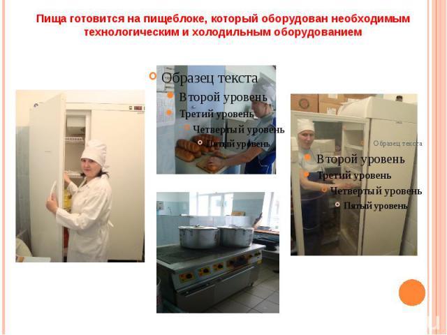 Пища готовится на пищеблоке, который оборудован необходимым технологическим и холодильным оборудованием