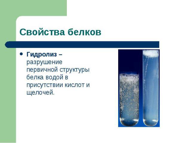 Гидролиз – разрушение первичной структуры белка водой в присутствии кислот и щелочей. Гидролиз – разрушение первичной структуры белка водой в присутствии кислот и щелочей.
