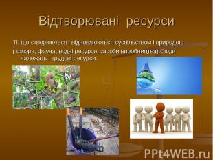 Відтворювані ресурси Ті, що створюються і відновлюються суспільством і природою