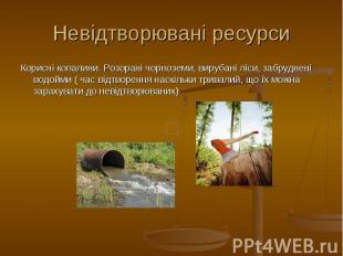 Невідтворювані ресурси Корисні копалини. Розорані чорноземи, вирубані ліси, забр