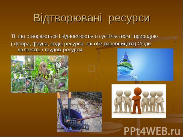Відтворювані ресурси Ті, що створюються і відновлюються суспільством і природою ( флора, фауна, водні ресурси, засоби виробництва).Сюди належать і трудові ресурси.