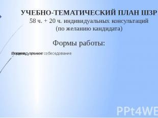 УЧЕБНО-ТЕМАТИЧЕСКИЙ ПЛАН ШЗР 58 ч. + 20 ч. индивидуальных консультаций (по желан