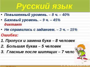 Русский язык Повышенный уровень. – 8 ч. – 40% Базовый уровень. – 9 ч. – 45% дикт