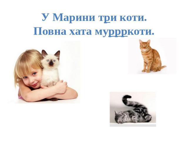 У Марини три коти. Повна хата муррркоти.