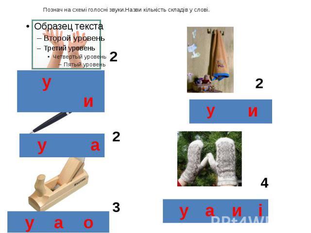 Познач на схемі голосні звуки.Назви кількість складів у слові.