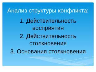Анализ структуры конфликта:1. Действительность восприятия 2. Действительность ст