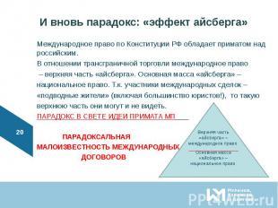 Международное право по Конституции РФ обладает приматом над российским. Междунар