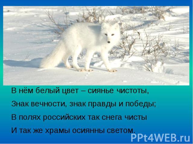 В нём белый цвет – сиянье чистоты, В нём белый цвет – сиянье чистоты, Знак вечности, знак правды и победы; В полях российских так снега чисты И так же храмы осиянны светом.