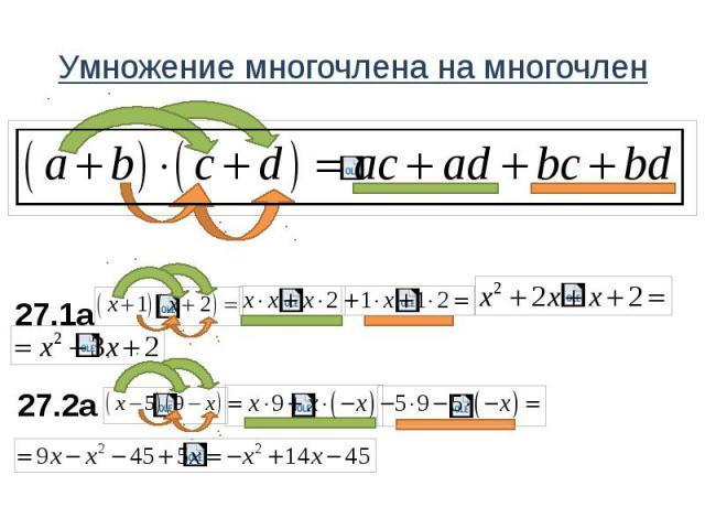 Умножение многочлена на многочлен 27.1a