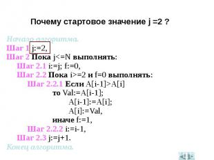 Начало алгоритма.Начало алгоритма.Шаг 1 j:=2,Шаг 2 Пока j<=N выполнять:Шаг 2.