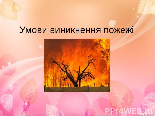 Умови виникнення пожежі