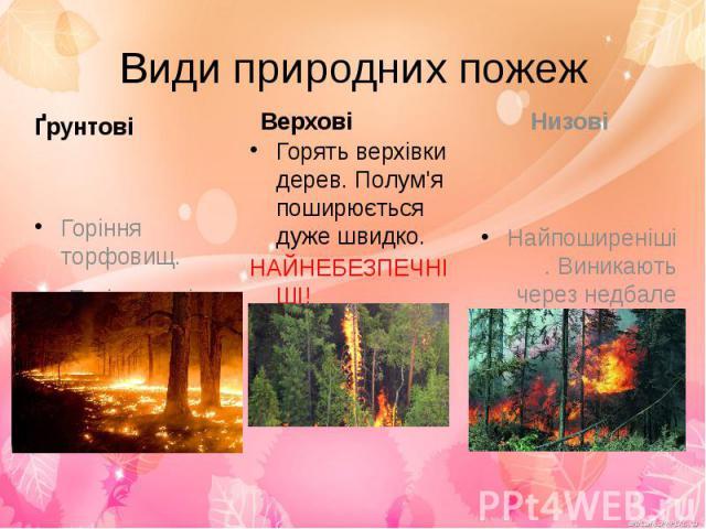 Види природних пожежҐрунтові