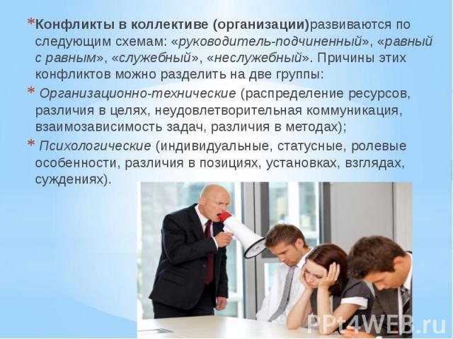 Конфликты в коллективе (организации)развиваются по следующим схемам: «руководитель-подчиненный», «равный с равным», «служебный», «неслужебный». Причины этих конфликтов можно разделить на две группы: Конфликты в коллективе (организации)развиваются по…
