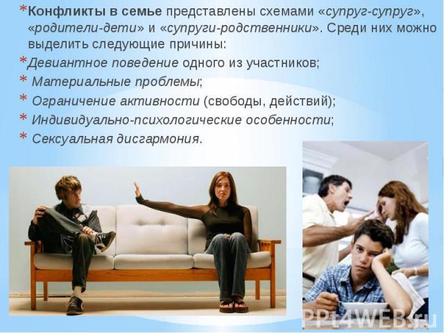 Конфликты в семье представлены схемами «супруг-супруг», «родители-дети» и «супруги-родственники». Среди них можно выделить следующие причины: Конфликты в семье представлены схемами «супруг-супруг», «родители-дети» и «супруги-родственники». Сре…
