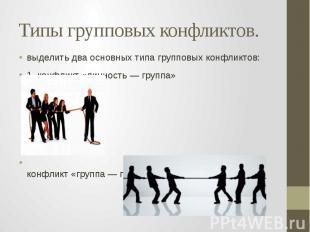 Типы групповых конфликтов. выделить два основных типа групповых конфликтов: 1. к