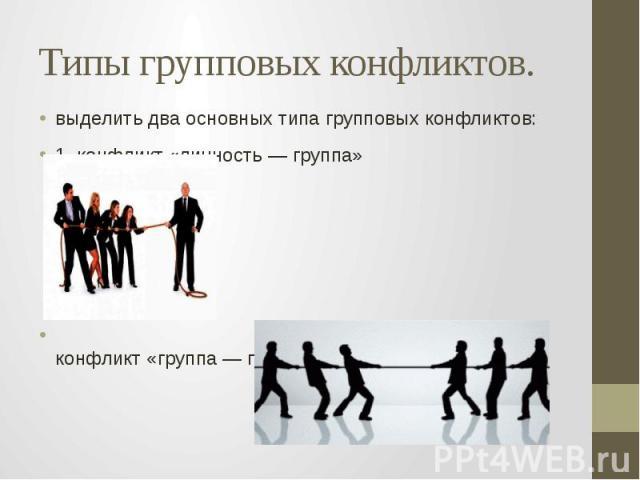 Типы групповых конфликтов. выделить два основных типа групповых конфликтов: 1. конфликт «личность — группа» 2. конфликт «группа — группа».