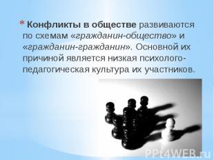Конфликты в обществеразвиваются по схемам «гражданин-общество» и «гр