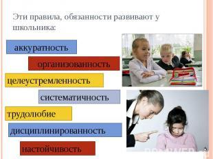 Эти правила, обязанности развивают у школьника: