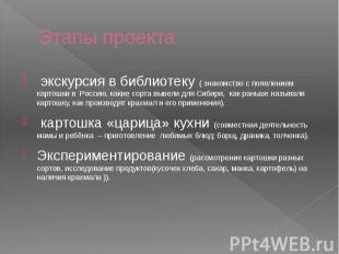 Этапы проекта экскурсия в библиотеку ( знакомство с появлением картошки в Россию