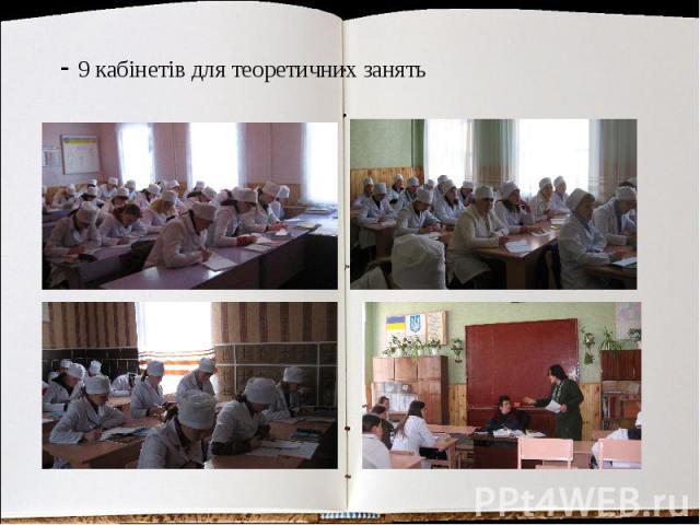 - 9 кабінетів для теоретичних занять