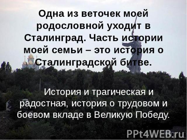 Одна из веточек моей родословной уходит в Сталинград. Часть истории моей семьи – это история о Сталинградской битве. История и трагическая и радостная, история о трудовом и боевом вкладе в Великую Победу.