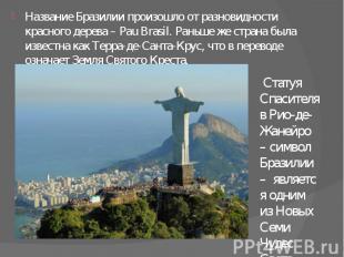 Название Бразилии произошло от разновидности красного дерева – Pau Brasil. Раньш