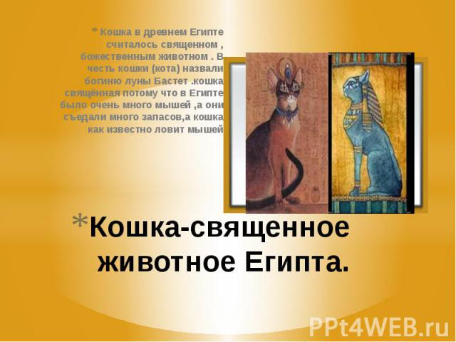 Кошка-священное животное Египта. Кошка в древнем Египте считалось священном , божественным животном . В честь кошки (кота) назвали богиню луны Бастет .кошка свящённая потому что в Египте было очень много мышей ,а они съедали много запасов,а кошка ка…