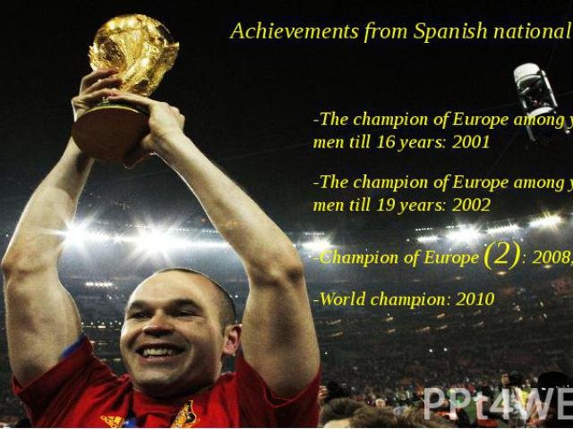 Achievements from Spanish national team -The champion of Europe among young men till 16 years: 2001 -The champion of Europe among young men till 19 years: 2002 -Champion of Europe (2): 2008, 2012 -World champion: 2010