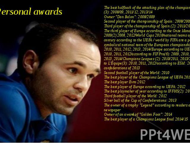 "Personal awards The best halfback of the attacking plan of the championship of Spain (3): 2008/09, 2011/12, 2013/14 Owner ""Don Balon"": 2008/2009 Second player of the championship of Spain: 2008/2009 Third player of the championship of Spai…"