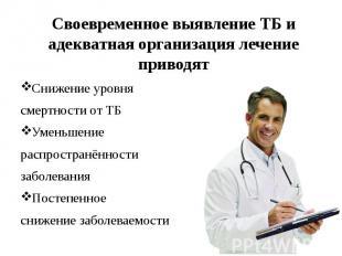 Своевременное выявление ТБ и адекватная организация лечение приводят Снижение ур