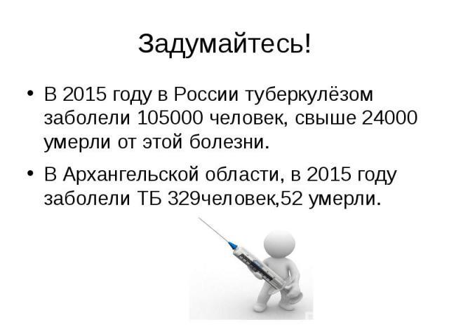 Задумайтесь! В 2015 году в России туберкулёзом заболели 105000 человек, свыше 24000 умерли от этой болезни. В Архангельской области, в 2015 году заболели ТБ 329человек,52 умерли.