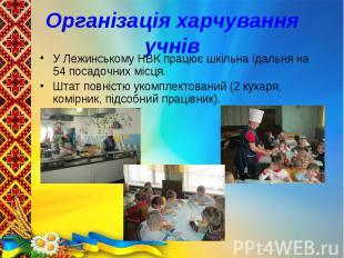 У Лежинському НВК працює шкільна їдальня на 54 посадочних місця. У Лежинському Н