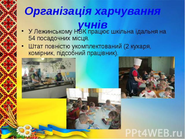 У Лежинському НВК працює шкільна їдальня на 54 посадочних місця. У Лежинському НВК працює шкільна їдальня на 54 посадочних місця. Штат повністю укомплектований (2 кухаря, комірник, підсобний працівник).