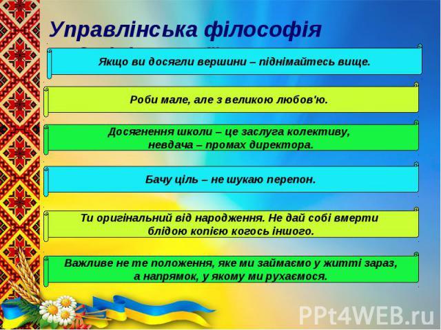 Управлінська філософія адміністрації Управлінська філософія адміністрації