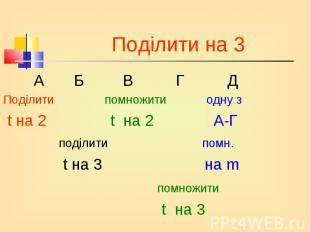 А Б В Г Д А Б В Г Д Поділити помножити одну з t на 2 t на 2 А-Г поділити помн. t