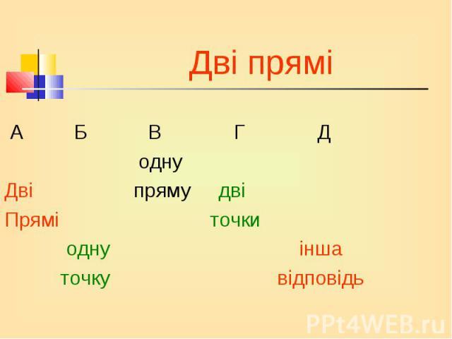 А Б В Г Д А Б В Г Д одну Дві пряму дві Прямі точки одну інша точку відповідь
