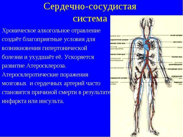 Хроническое алкогольное отравление Хроническое алкогольное отравление создаёт благоприятные условия для возникновения гипертонической болезни и ухудшаёт её. Ускоряется развитие Атеросклероза. Атеросклеротические поражения мозговых и сердечных артери…