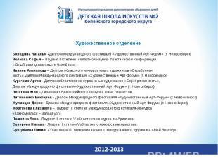 Художественное отделениеБородина Наталья - Диплом Международного фестиваля «Худо