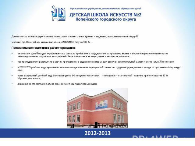 Деятельность школы осуществлялась полностью в соответствии с целями и задачами, поставленными на текущий учебный год. План работы школы выполнен в 2012-2013 году на 100 % . Положительные тенденции в работе учреждения:реализация целей и задач осущест…