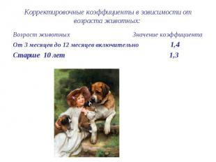 Корректировочные коэффициенты в зависимости от возраста животных: Возраст животн