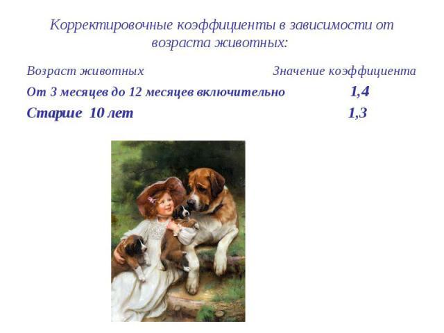 Корректировочные коэффициенты в зависимости от возраста животных: Возраст животных Значение коэффициента От 3 месяцев до 12 месяцев включительно 1,4 Старше 10 лет 1,3